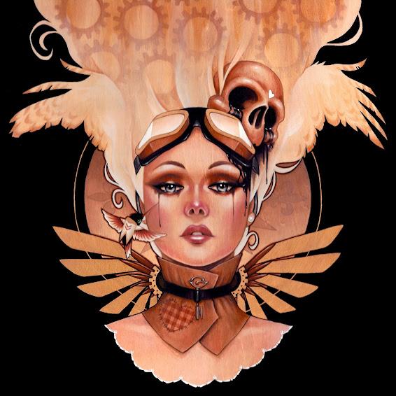 Ilustración de mujer con plumas