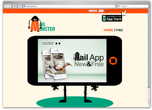 Plantilla Wix de Mail Monster