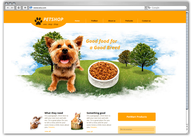Plantilla Wix de Pet Supplies