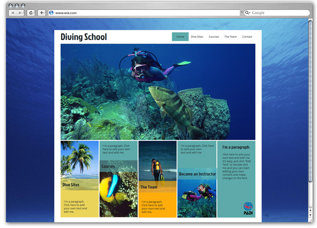Plantilla Wix de Scuba diving