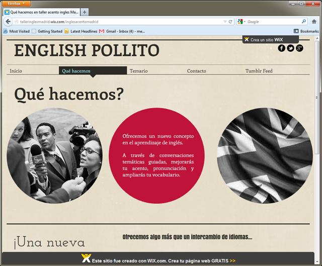 Página de inicio del taller de Inglés English Pollito