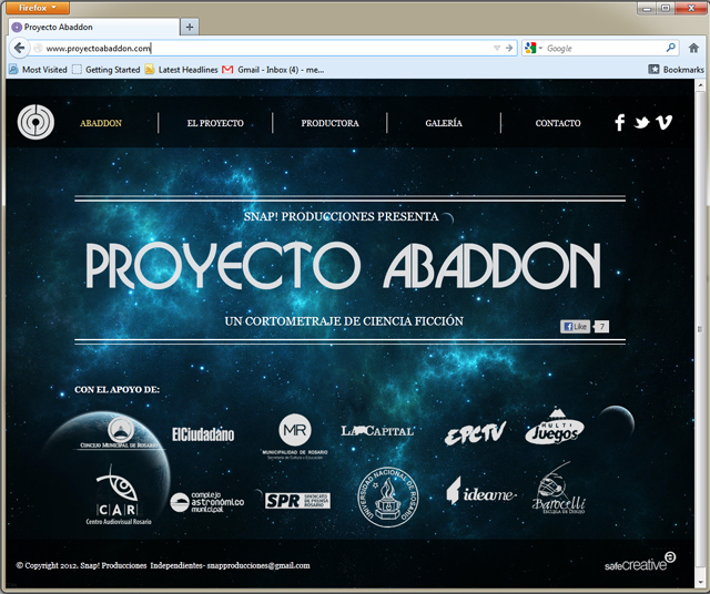Página de Inicio de Proyecto Abaddon