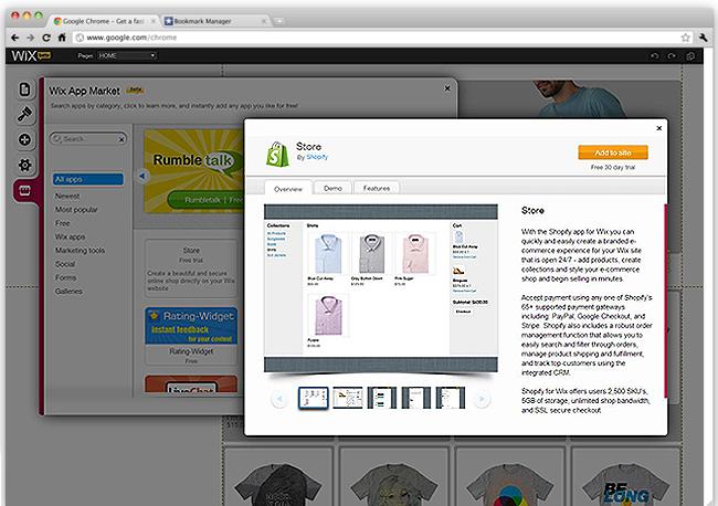 Editor de Wix con la aplicación shopify abierta