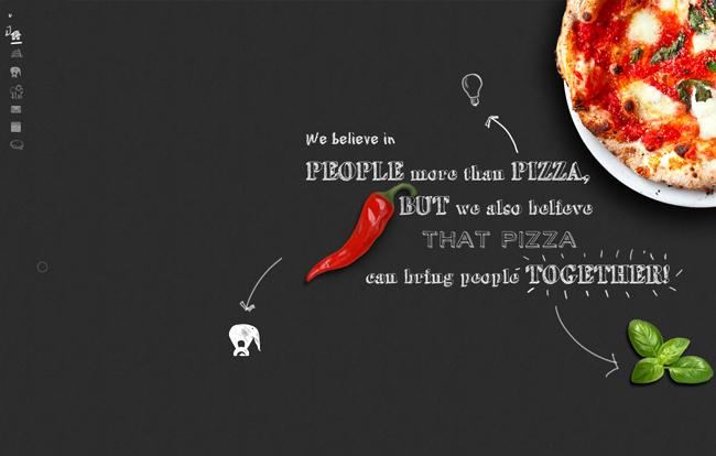 Sitio Web que parece una mesa con pizza