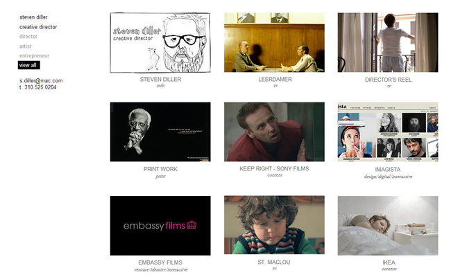 Sitio web de Steven Diller, director creativo