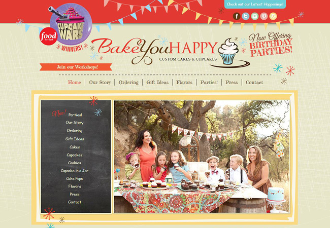 Pantallazo del sitio de Bake You Happy