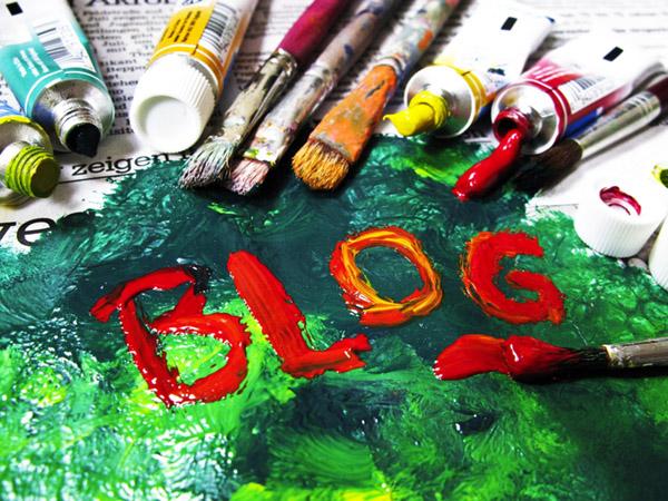 """Cuadro al oleo donde dice """"Blog"""" pintada en colores rojizos"""