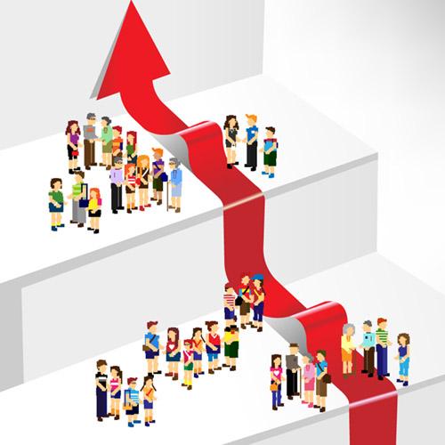 Ilustracion de segmentación con una flecha roja en medio