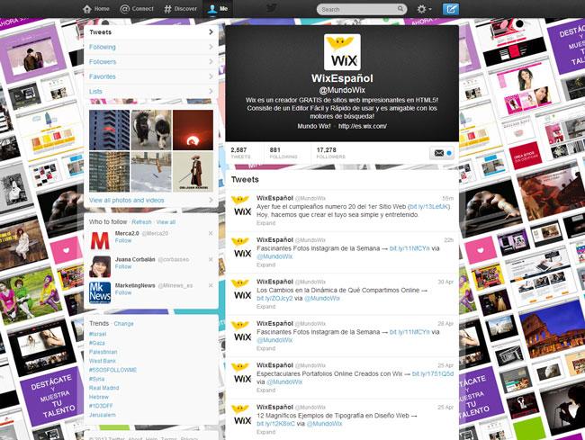 Perfil de Wix en Twitter