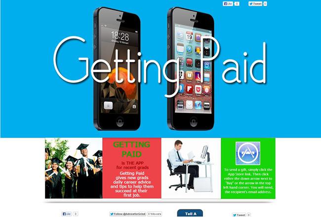 Sitio web sobre una aplicación movil. Se ven dos iPhones de costado y diagonal en primer plano