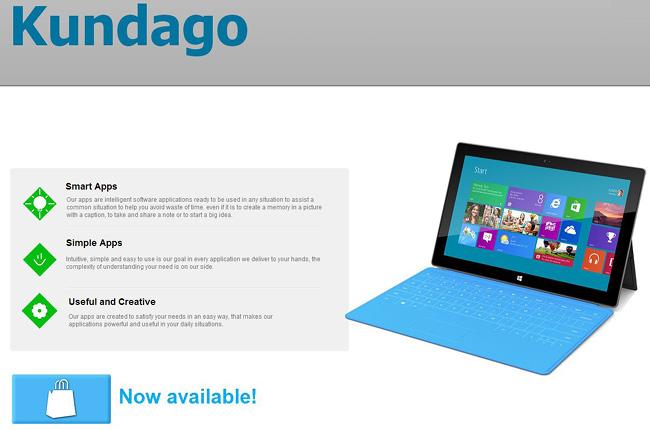 Sitio web sobre una aplicación. Se ve una fotografia de una tablet