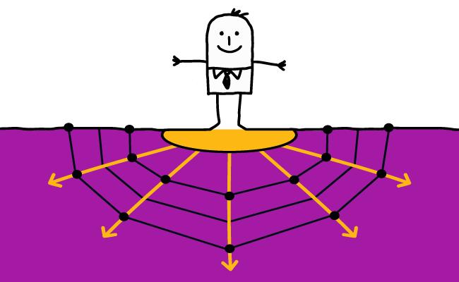 Ilustración de un hombre sobre suelo morado y muchas flechas en múltiples direcciones