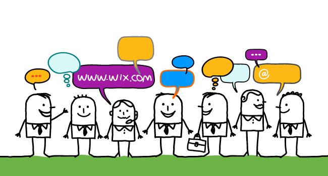 Ilustración de muchos hombrecitos con globitos de conversación