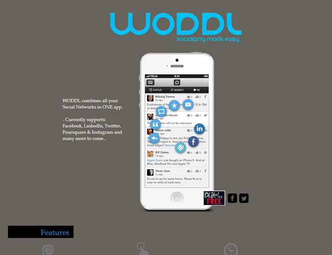 Pantallazo de sitio web sobre aplicacion movil. Se ve un iPhone en primer plano