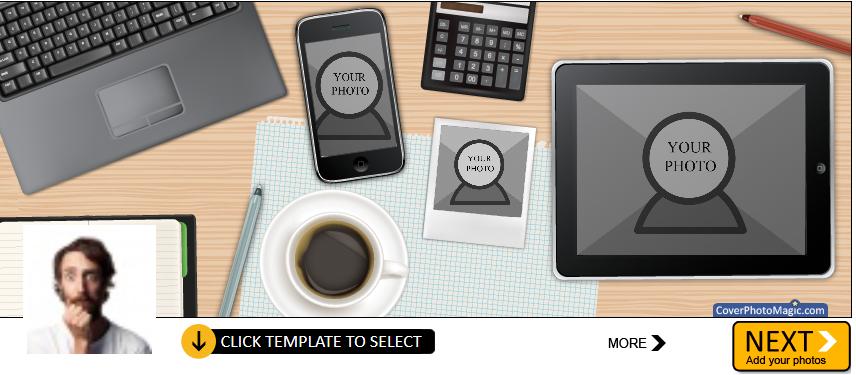 Screenshot de una foto de portada de un escritorio con muchos gadgets sobre el mismo.