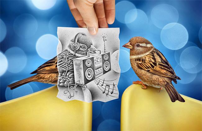 Pajaros y uno de ellos tiene un dibujo de un pajaro  sobrepuesto sobre el pajaro real