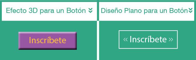 Comparación de dos botones web. Uno plano y otro en 3D