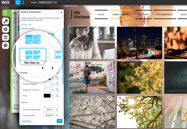 Captura de Pantalla desde el Editor de Wix