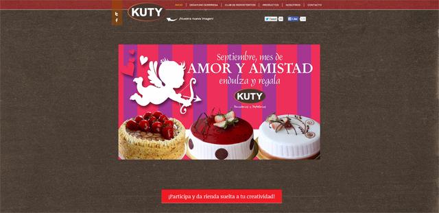 Captura de pantalla de la página web de panaderias Kuty