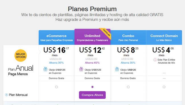 Captura de Pantalla de las opciones de planes premium de Wix