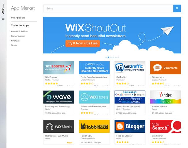 App Shoutout en el App Market de Wix