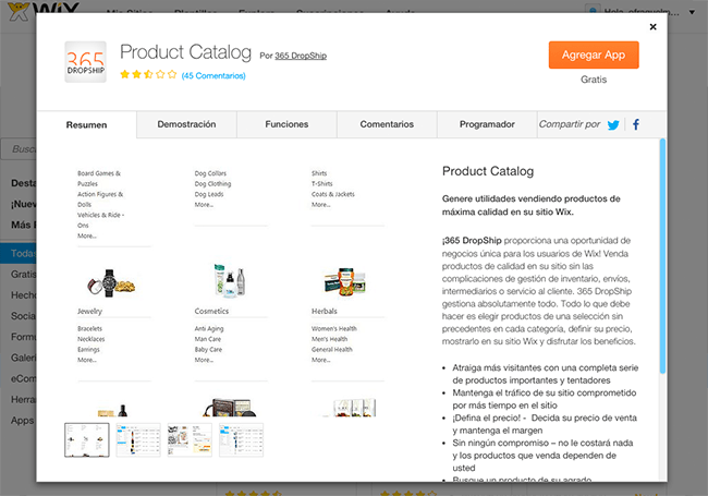 Captura de Pantalla de 365 DropShip Product Catalog