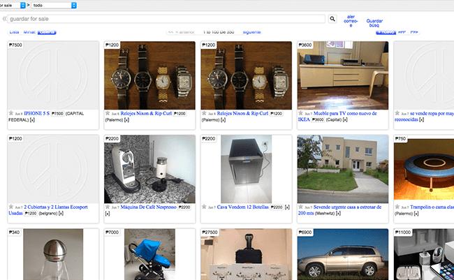 Captura de Pantalla de la página web Craiglist