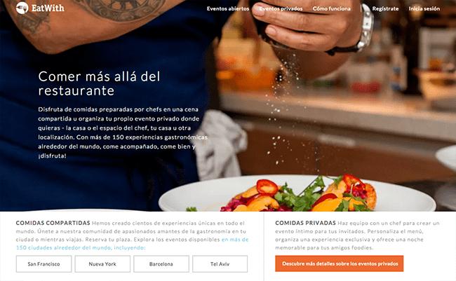 Captura de Pantalla de la página web EatWith