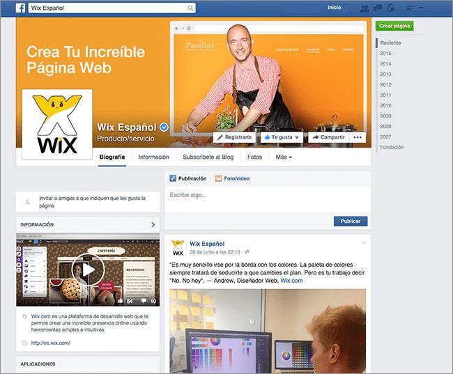Redes Sociales de Wix