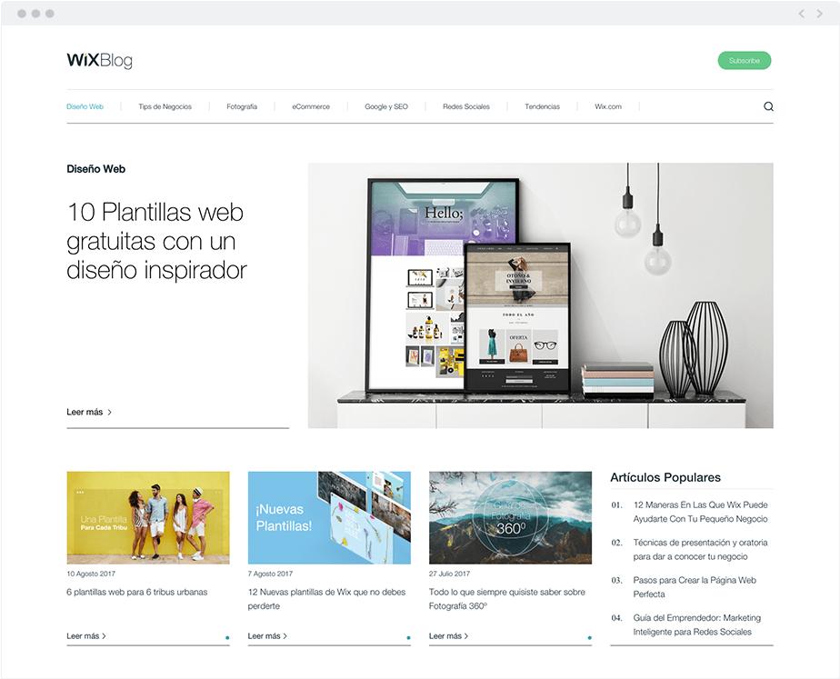 Blog de Wix -Diseño Web