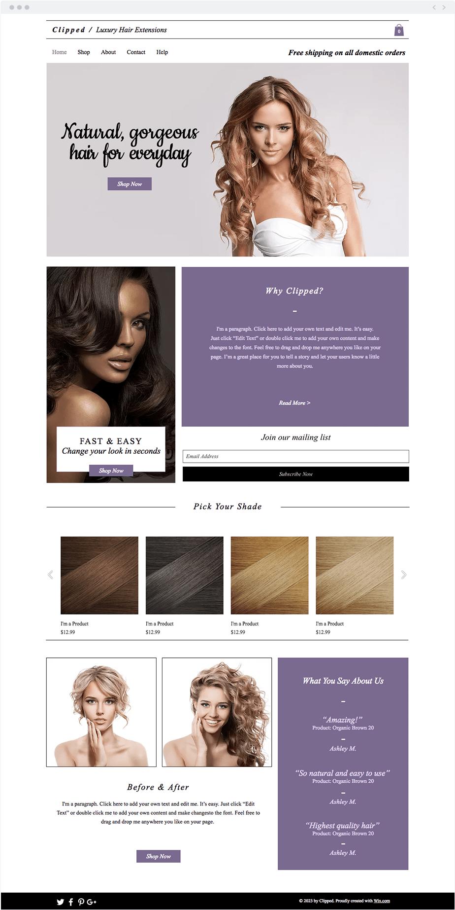 Plantilla Extensiones de pelo de alta calidad
