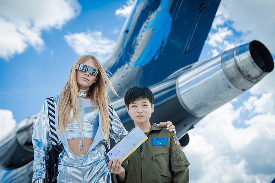 Reiko and Stav before the flight.