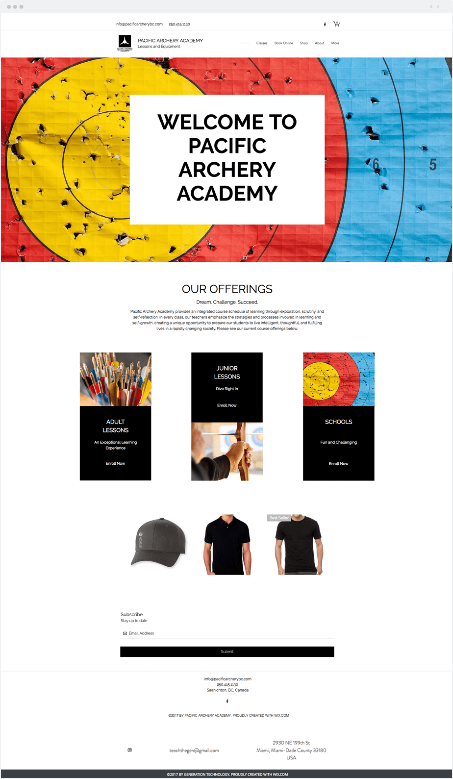 Ideas de Negocio Wix - Pacific Archery