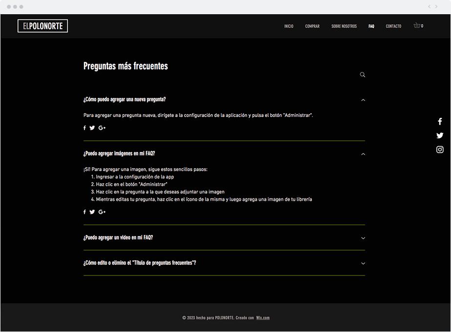 Página de Preguntas Frecuentes - FAQ