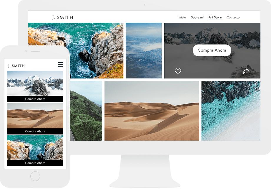 Mostrando Wix Art Store en versión escritorio y móvil