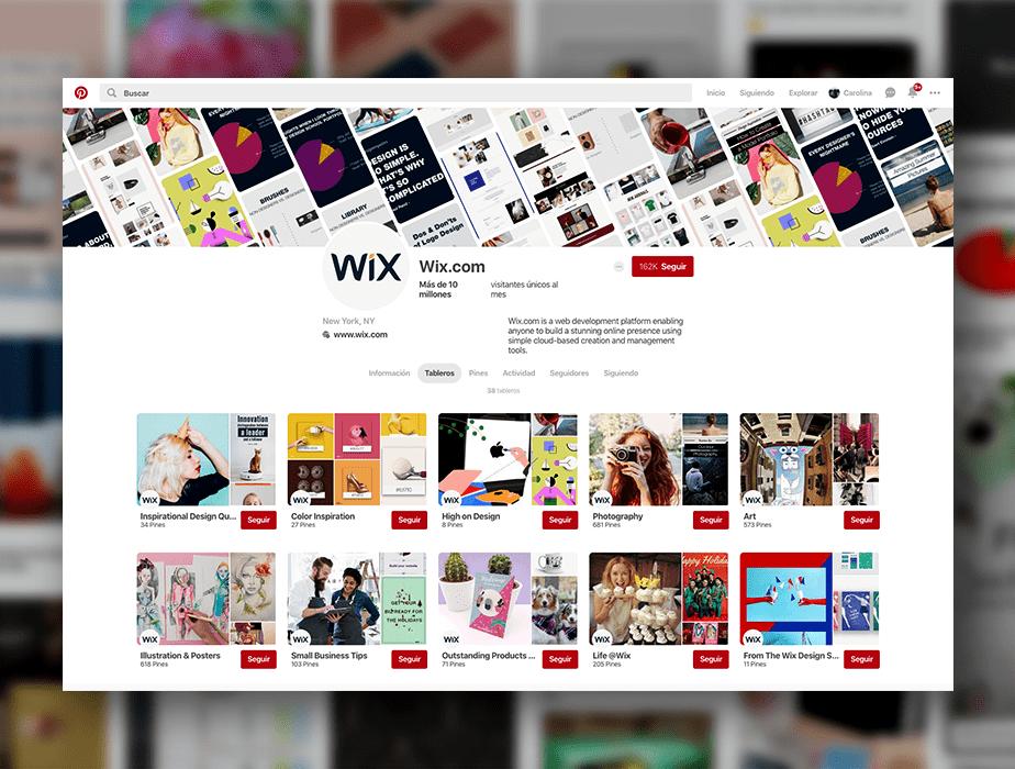 Wix en Pinterest