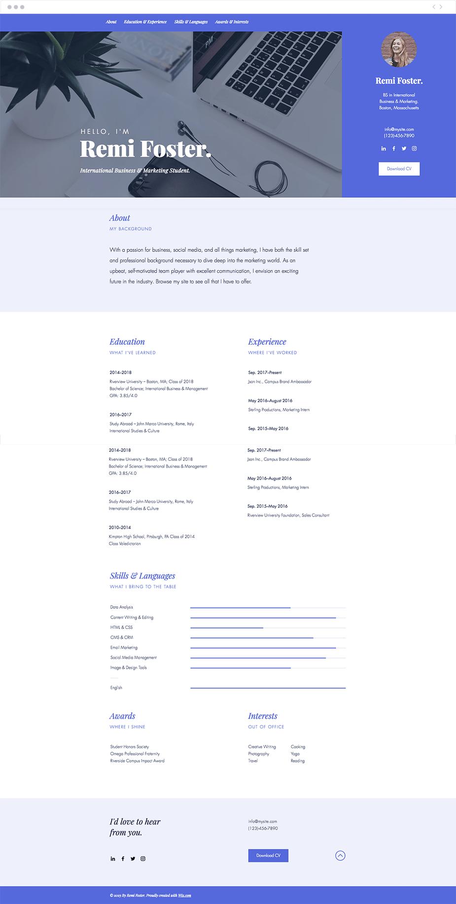 Las mejores plantillas para crear un CV online con Wix