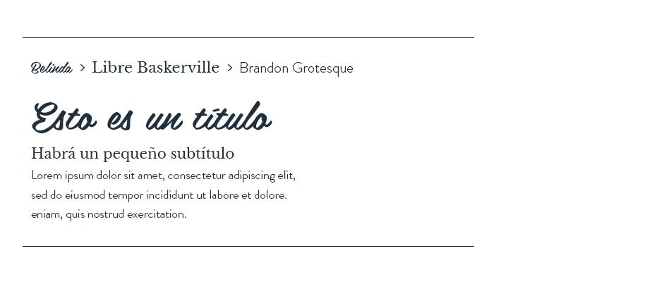 Belinda, Libre Baskerville & Brandon Grotesque